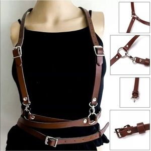 Accessories - Brown Steampunk O Ring Harness Festival New